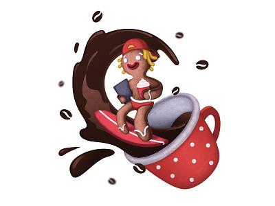 Gingerbread Surfer illustration card christmas splash cap laptop bean cup coffe wave surfer gingerbread man gingerbread design illustration