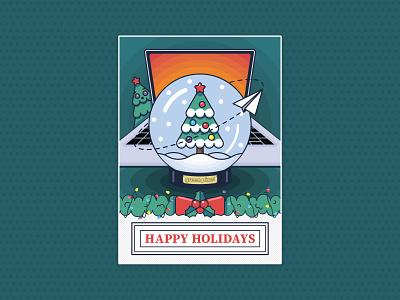 Happy Holidays Postcard green pixel postcard snow lights plane paper holidays computer laptop christmas tree christmas snowball vector illustration