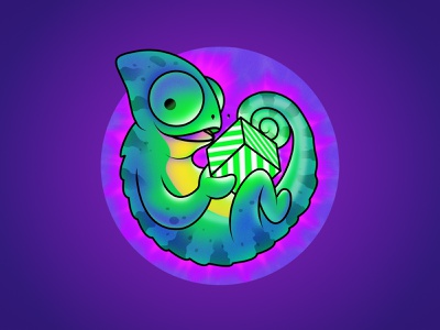 Chameleon illustration vectors sticker happy circle sphere cube purple green character vector illustration chameleon