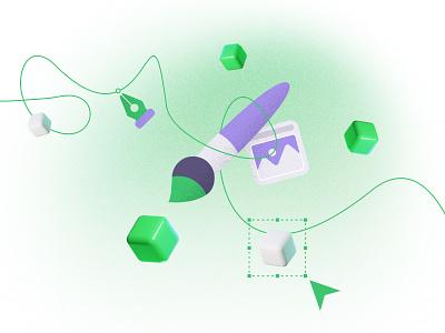 Green Pixel illustrations purple green image photo cloud bulb scale cube design tool pen brush pencil illustration design tools