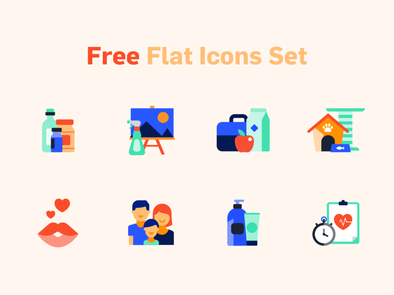 Free Flat Icons Set icons pack icons set icons icon download for free download free icon set free icon sketch svg freebie freebies free friendly minimal vector ecommerce illustration design flat