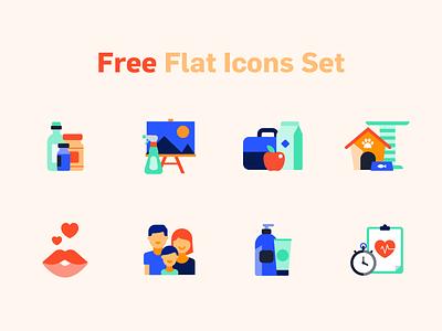 Free Flat Icons Set icons pack icons set icons icon download for free download free icon set free icon sketch svg freebie freebies free friendly minimal vector ecommerce illustration design flat