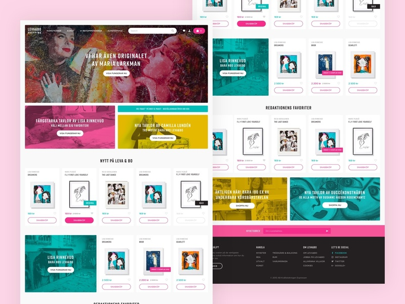 LEVA&BO Shopping e-commerce gallery art shop e-commerce shop interface pink webpage web design web webdesign ui  ux ux ui artists studio scandinavia sweden art e-commerce ecommerce
