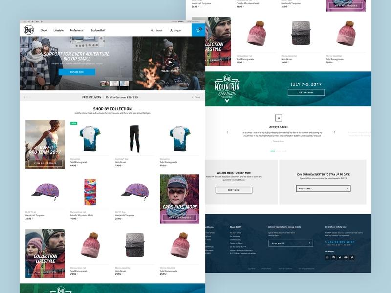 E-commerce project Buff.eu snow sport emotional voice minimal blue magento web design ux ui ecommerce e-commerce buff