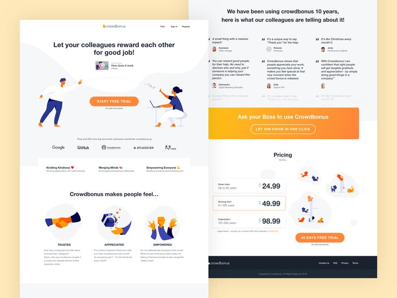 CrowdBonus Landing page redesign web friendly icon vector ux ui flat minimal illustration design landing