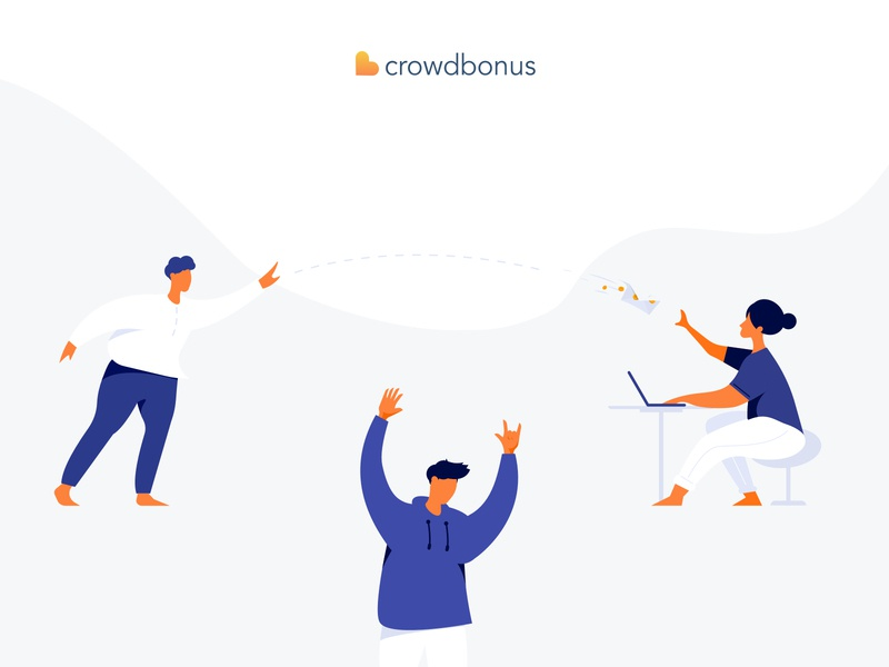 Crowdbonus Illustrations crowd orange friendly icon vector ecommerce flat minimal illustration design