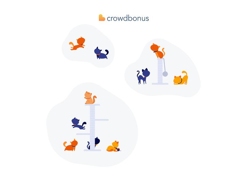 Crowdbonus Illustrations branding icon friendly vector ecommerce ui flat minimal illustration design