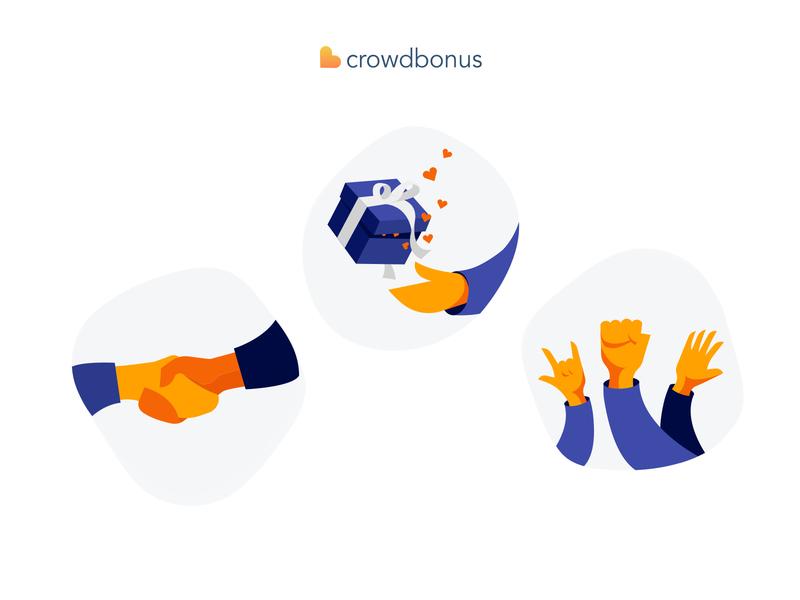 Crowdbonus Illustrations website branding orange friendly vector ecommerce flat minimal illustration design