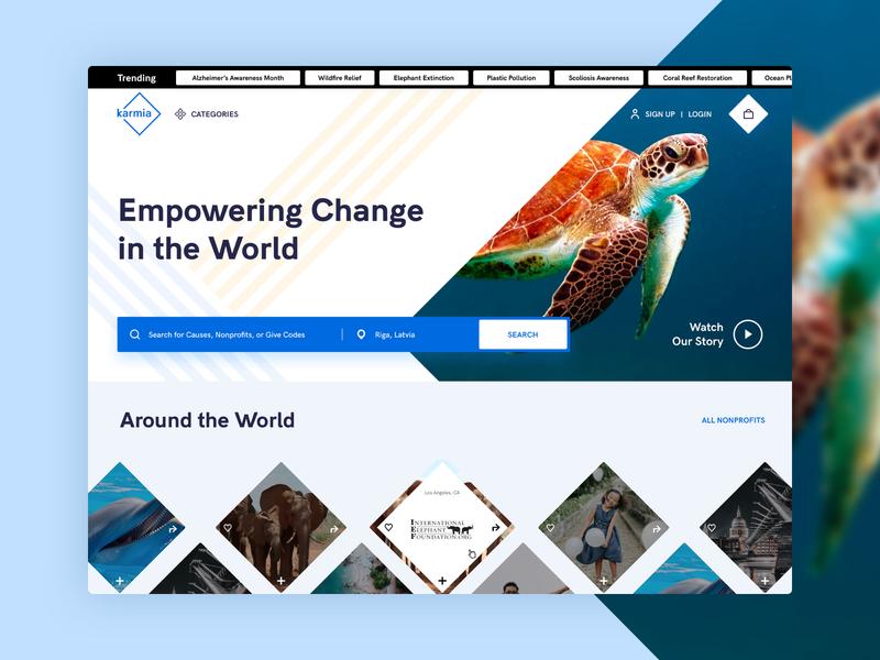 Karmia - main page challenge sea world nonprofit diamonds ui ux minimal flat design