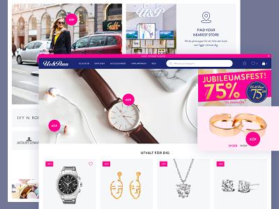Jewellery shop homepage redesign branding web flat sweden blue jewels ux ui ecommerce minimal design