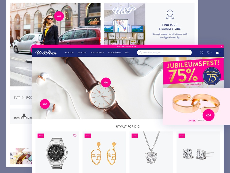 Ur&Penn - homepage redesign branding web flat sweden blue jewels ux ui ecommerce minimal design