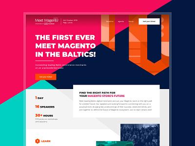 Meet Magento Baltics - Homepage branding web orange ux ui ecommerce minimal flat illustration design