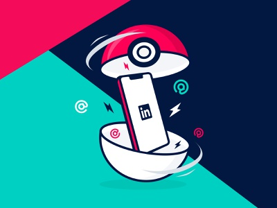 Meet Magento Baltics - illustration contacts pokeball linkedin pokemon branding friendly flat ecommerce illustration