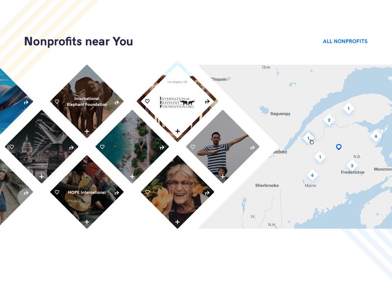 Karmia - Map view charity world help nonprofit branding ux ui design flat diamonds challenge