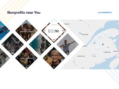 Map view charity world help nonprofit branding ux ui design flat diamonds challenge