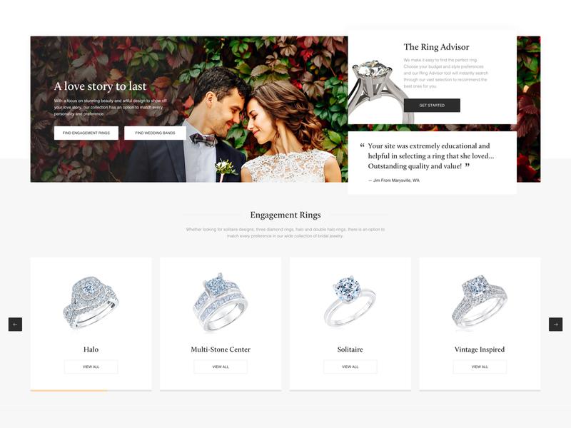 Reeds - homepage blocks redesign weeding website illustration icon friendly ux ui ecommerce minimal jewelry design