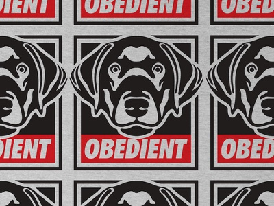 Obedient dog obey type vector