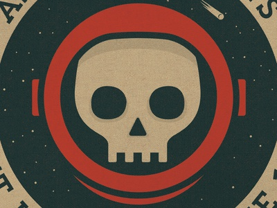 Lost In Space space skull vector threadless tee-shirt vintage distressed stars