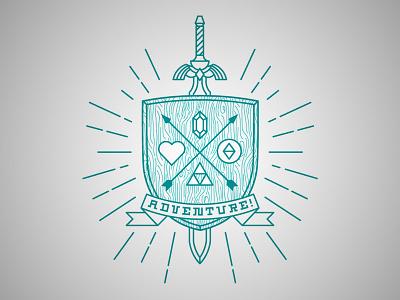 ADVENTURE! crest vector sword gaming zelda nintendo logo