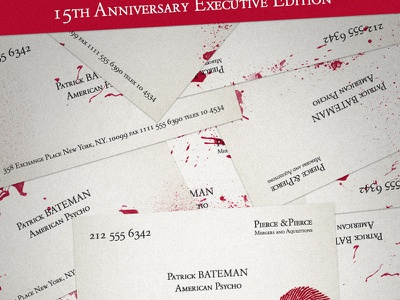 American Psycho Steelbook Concept business card blood horror american psycho poster movies