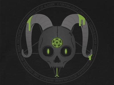 The Summoning horns pentagram occult skull