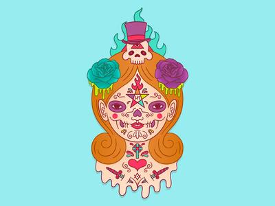 Voodoo Doll character voodoo pentagram tattoos lowbrow occult skull vector illustrator