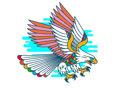 Flight of Fancy tee shirt vector bird spectrum rainbow halftone graphic design neo traditional eagle tattoo tattoo vintage