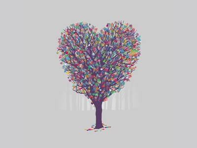 Nature's Love illustration branches leaves leaf heart tree