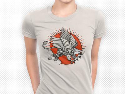 Fantastic Beast Tee Shirt orange and black halftone tee design tee shirt ancient greece vector eagle bird tattoo beast mythical creature griffin cryptozoology