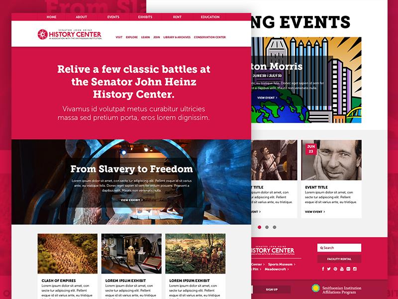 The Heinz History Center Website  responsive web web design history museum flat exhibit