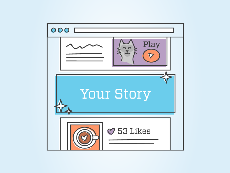 Blog Illustration video cat newsfeed social illustration