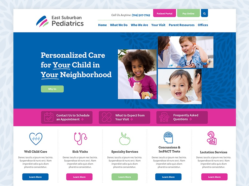 East Suburban Pediatrics Website pediatrics web design web website
