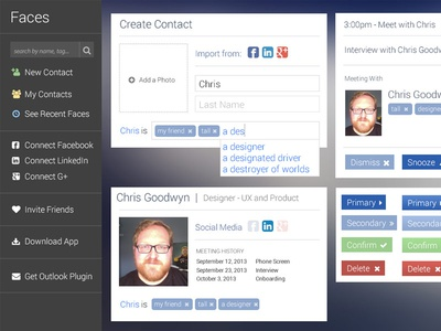 If Glass had facial recognition... facebook glass facial recognition elements ui design