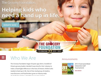 The Grocery Foundation Redesign menu website donate charity