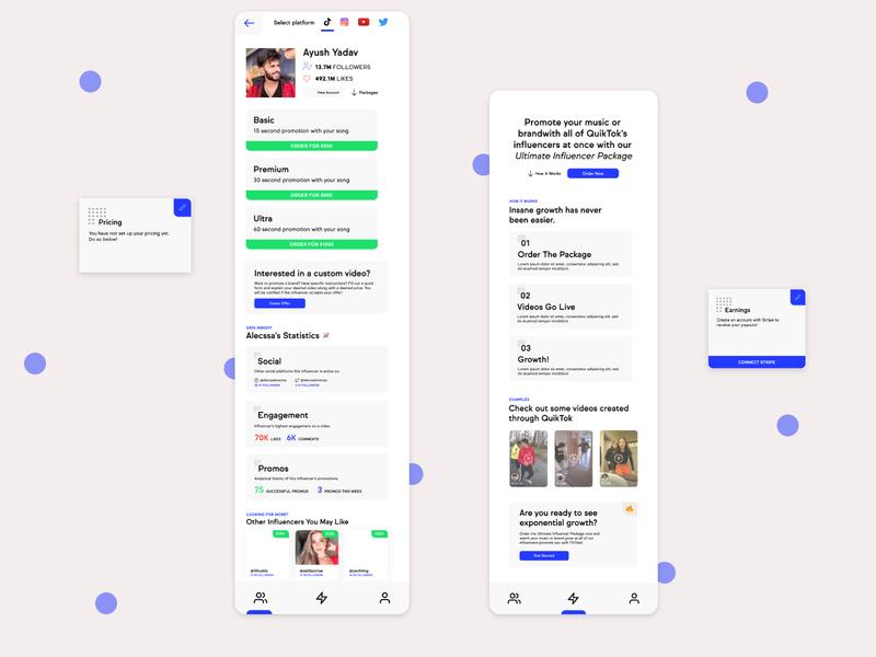 quiktok ux promos engagement social influencer tiktok branding ui mobile app design design app designer mobile ui app design