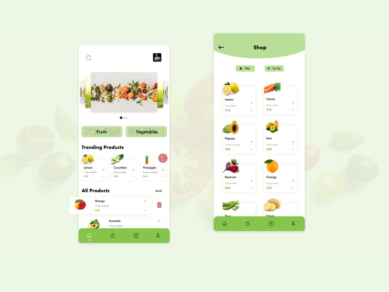 Grocery shop and homescreen sort by filter shop list product grocery list vegetales fruits grocery store grocery online grocery app online selling grocery mobile app design design ui mobile ui app design