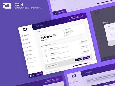 [2017] Zoin desktop app - UI & UX design cryptocurrency wallet interface design ux design ui design