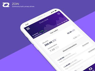 [2017] Zoin mobile app - UI & UX design cryptocurrency wallet ux design ui design