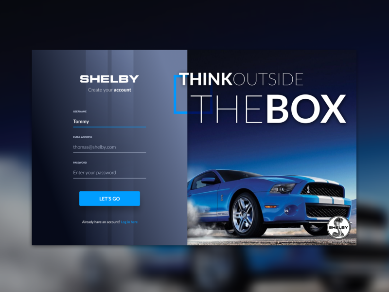 Sign Up (Daily UI #001) gt500 shelby mustang car account form signup register sign up ux design uxdesign ui design uidesign dailyui001 dailyui 001 daily ui dailyui