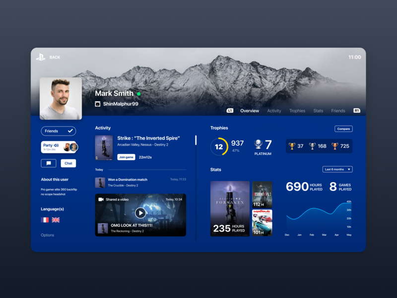 PS4 User Profile (Daily UI #006) 2d design playstation4 playstation 4 user profile ps4 playstation userprofile profile user daily ui 006 dailyui 006 dailyui006 daily-ui daily ui dailyui ux design ux ui design ui