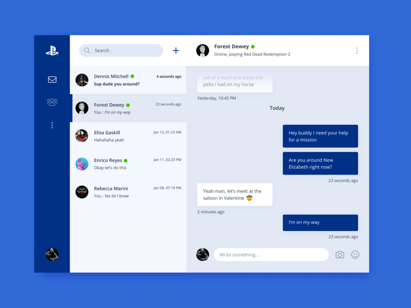 Direct Messaging (Daily UI #013) design messages messenger desktop playstation dailyui 013 daily ui 013 dailyui013 ux ui daily-ui concept app uxdesign uidesign 2d daily ui dailyui ux design ui design