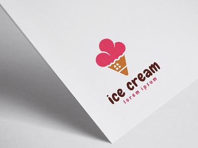 Ice Cream House Logo Template chocolate adorable cute kids house summer ice cream shop ice cream logo ice cream cone icecream ice cream illustration logo illustrator identity design flat clean free design branding