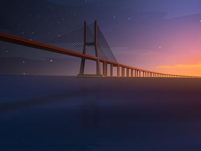 Bridge at Sunset affinitydesigner vector practice illustration