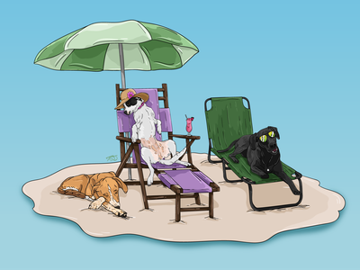 Beach Pups beach dogs graphic design vector digital design illustration