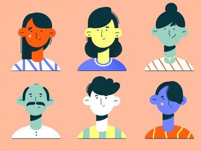 Generations texture 2d procreate cute fun family minimal characters clean modern vector art vector face illustration flat character design character