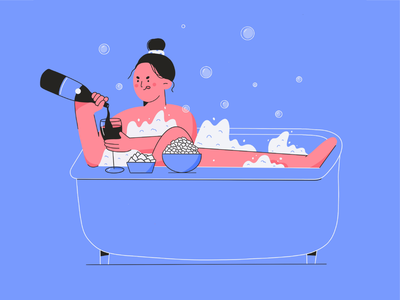 Relax minimal illustration 2d outlines lines vector design flat design character design character illustration relaxing wine chill evening girl bubbles bath