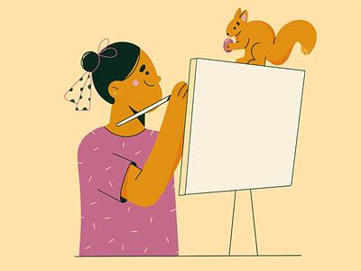 Plain air painting 🖤 painter painting animal cute modern clean vector art girl face minimal flat vector illustration character design character