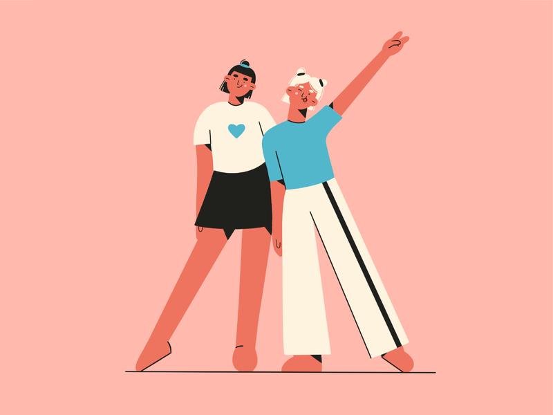Besties 👯♂️ minimal art modern cute fun vector design flat illustration illustration 2d friends girls flat vector illustration character design character
