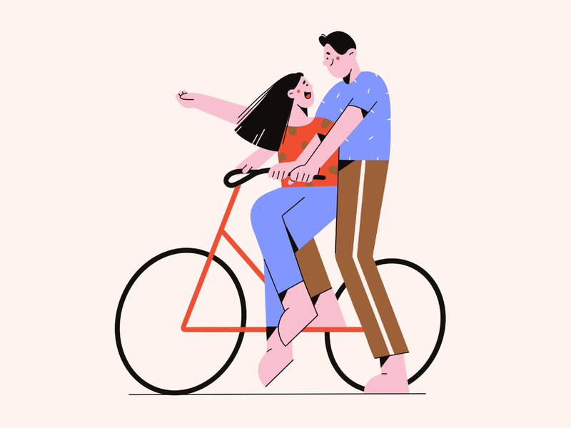 Bicycle cute fun couple people friends bicycle modern clean vector art girl face minimal flat vector illustration character design character