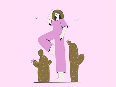 Cactus 🌵 pink nature cactus illustration 2d design girl vector art face minimal flat vector illustration character design character